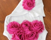 FREE Headband and CHOICE of COLOR - Pink, Tan, Red, Turquoise, Black, White - Shabby Chic Flower Onesie