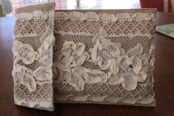 Creamy Ivory Lace and Burlap Diaper & Wipes Case Clutch