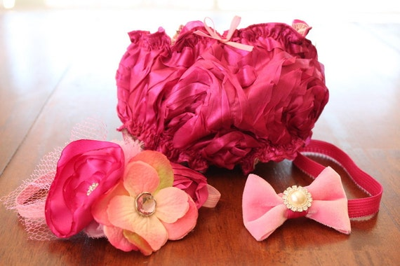 Romantic Pink Blooming Flowers Diaper Cover with 2 Coordinating Pink Headbands - 1 Flower, 1 Bow