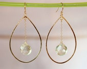 Green Amethyst Hammered Gold Hoop Chandelier Chain Earring - Graduation Gift - Bridal Jewelry Set