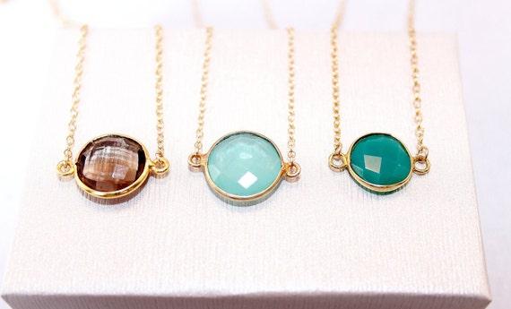 22k Gold Vermeil Bezel Set Stackable Gemstone Necklace - Bridal Gift - Gift for Her