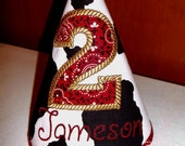 Personalized  birthday hat in cow print