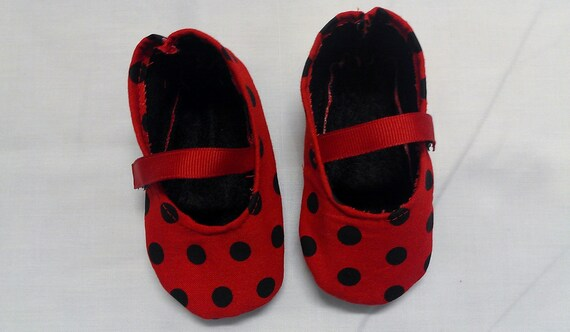 Red and black polka dot shoes