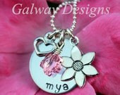 Pink and Silver Flower Girl Charm Necklace--------Hand Stamped Girls Necklace