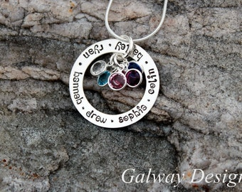 Hand Stamped Family Circle Necklace - Personalized Washer Necklace - Sterling Silver Washer Necklace - stamped kids names - Mommy Necklace