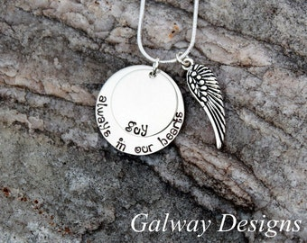 Remembrance Necklace - Hand stamped personalized memorial necklace - loss of a loved one jewelry