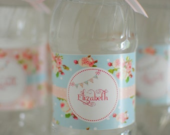 Blue Floral Shabby ChicTea Party Collection Water Bottle Labels