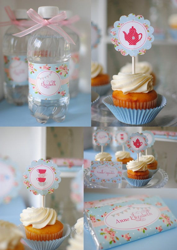 Blue Floral Shabby Chic Complete Birthday Tea Party Package