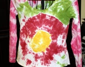 Clearance - Green, Fushia and Yellow Tie Dye Long Sleeve T-Shirt - Womens (Large)