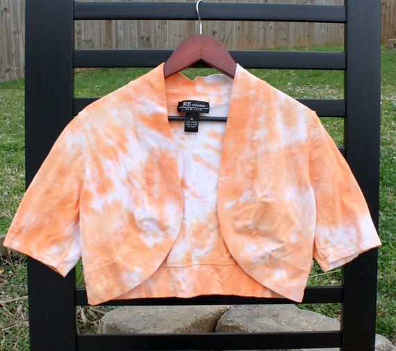 50% off - Orange and White Cropped Tie-Dye Sweater (X-Large)