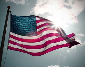 Patriotic American Flag Photograph for Memorial Day, Veteran's Day, Flag Day, Fourth of July Restaurant Decor Wall Art