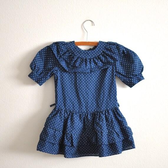 Vintage Navy Polka Dot Ruffle Dress (3T)