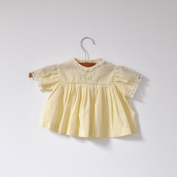 Vintage Yellow Swiss Dot Pleated Dress (9-12 months)