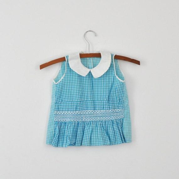 Vintage Blue Gingham Smocked Tank Dress (2T)