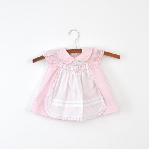 Vintage Polly Flinders Smocked Apron Dress (6-12 months)