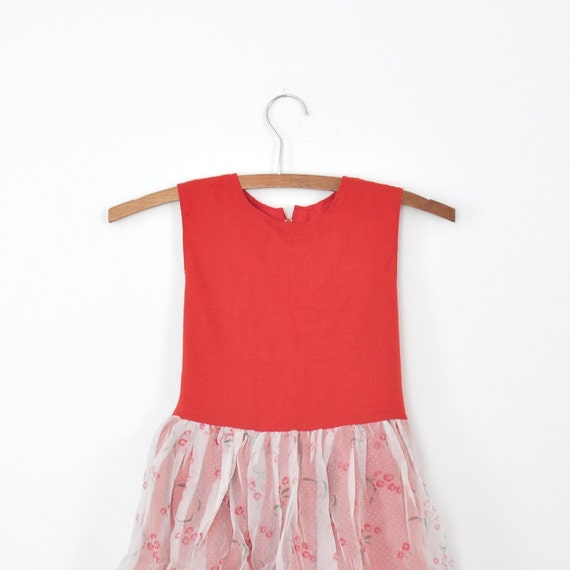 Vintage Handmade Red Sheer Party Dress (girls size 6-8)