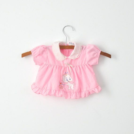 RESERVED RESERVED RESERVED - Vintage Pink Kitty Applique Dress (0-3 months)