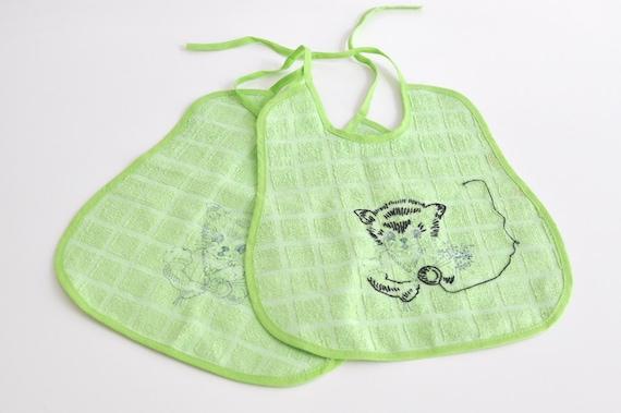 Vintage Green Cat Baby Bibs - SET OF 2
