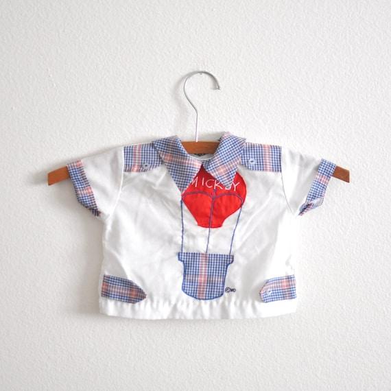 CLEARANCE - Vintage Blue Gingham Hot Air Balloon MICKEY Shirt (3-6 months)