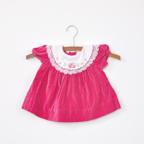 CLEARANCE - Vintage Pink Velvet Dress (3-6 months)