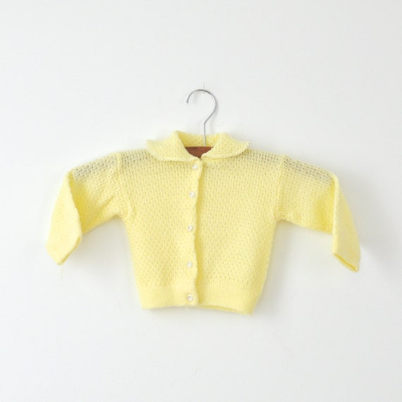 Vintage Knit Yellow Cardigan Sweater (0-6 months)