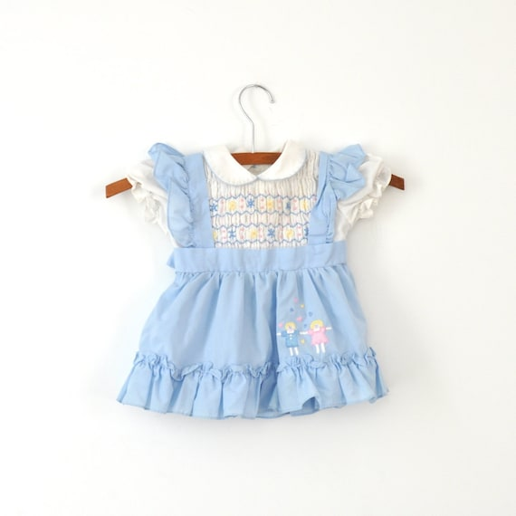 Vintage Smocked Blue Apron Dress (18 months)