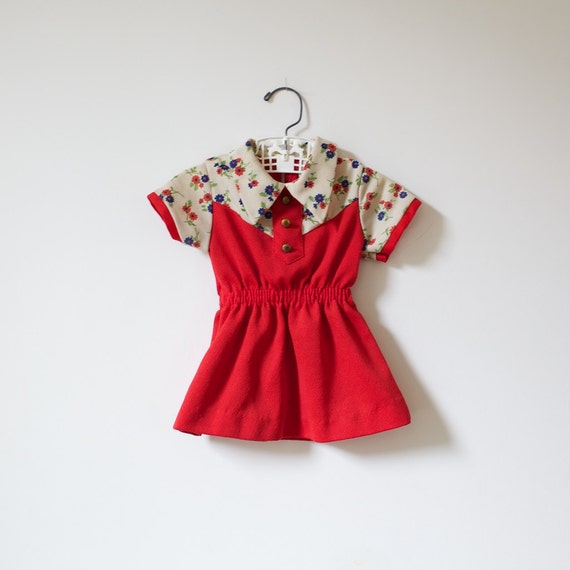 Vintage 60's Retro Red Flower Dress (18 months - 2T)