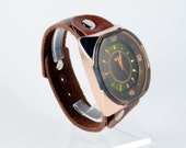 Unique Leather Bracelet Watch(W26) -  Golden color watch  with Dark brown glass,unique  number plate  design
