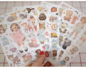Korea Sticker - Paper Doll Mate Deco Translucent Sticker ver.2 (6 sheets)