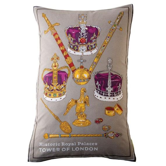 Crown Jewels Royal Pillow Jubilee Upcycled Tea Towel Cushion Grey