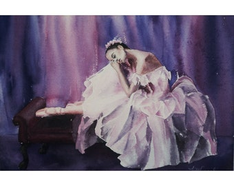 "Fine Art Print of Original Watercolor ""Resting"" Ballet Dancer"