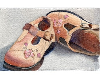 ATC ACEO Childs tan Mary Jane shoes
