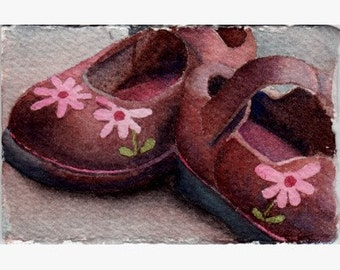 ATC ACEO Childs brown Mary Jane shoes with flowers