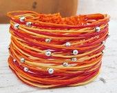 Sunquis Orange Multi Strand Wax Cord Bracelet F07