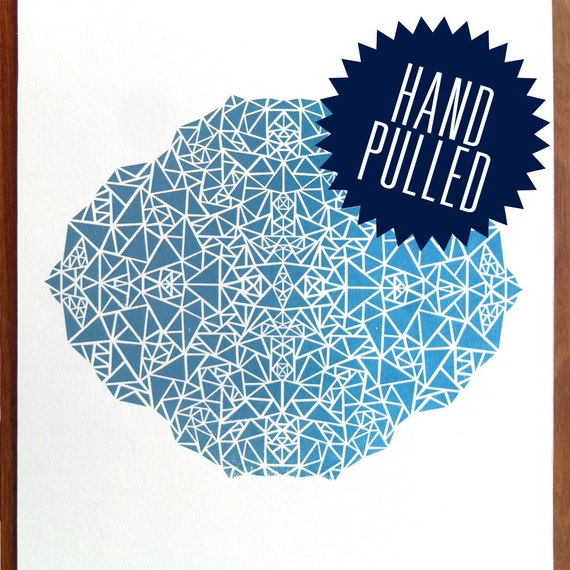 Facets Hand Pulled Screen Print in Blue
