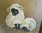 Vintage hand painted painting of sheep lambs