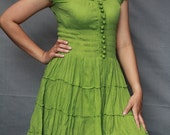 Lovely Fresh Apple Green  smocked cotton dress with crocheted infront