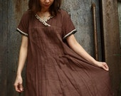 Simple Vintage...Dark Chocolate Light Cotton Dress with a lovely small ball Cotton