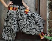 Zebra Printed Cotton Ninja,Harem Pants with Mong Fabric decorated,unisex pants