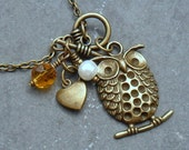 Little Owl Sitting on a Branch in Antiqued Brass Necklace