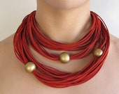 Spring Sale - Was 47 USD Now 40 USD - Statement suede necklace with ceramic beads