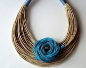 Summer  Sale - Was 50 USD Now 43 USD -  Natural  and turquoise fiber necklace Spring  - Summer collection