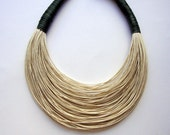 Beige and dark sea green statement necklace Spring - Summer Collection - superlittlecute