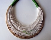 Summer Sale - Was 42 USD Now 37 USD - White and natural fiber statement necklace Spring - Summer collection