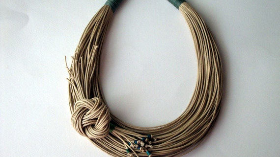 Spring Sale - Was 50 USD Now 43 USD - Natural fiber necklace Spring Summer collection
