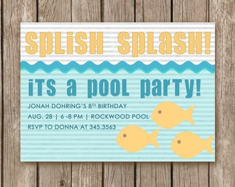 PRINTED - Pool Party Invitation - perfect for a boy or girl birthday party and can be custom designed for any color scheme or party