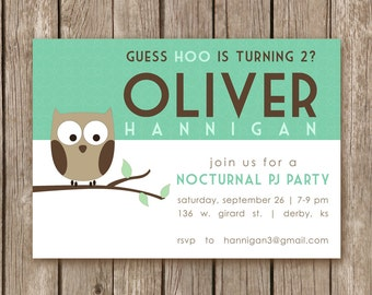 PRINTED Nocturnal PJ Owl Birthday Invitation - perfect for a girl of a boy party and can be customized with any colors