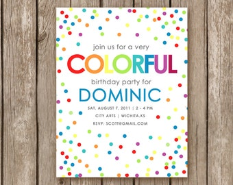 PRINTED Rainbow Confetti Party Invitation - perfect for a girl of a boy birthday partY