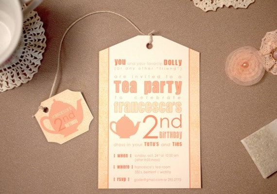 items similar to printed tea party birthday invitations and, Baby shower invitation