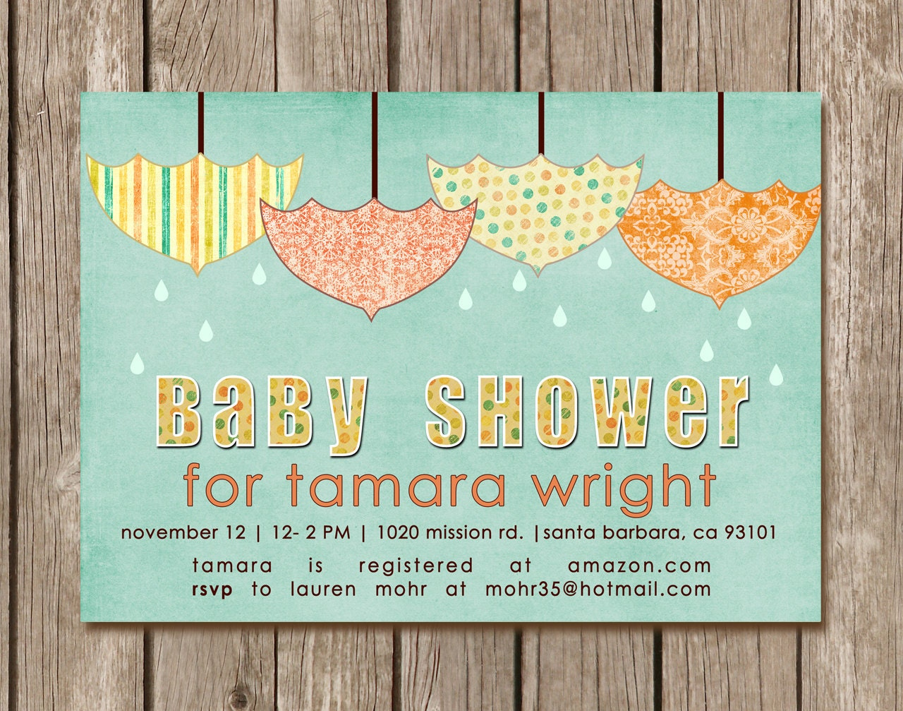printed vintage umbrella baby shower invitation can be
